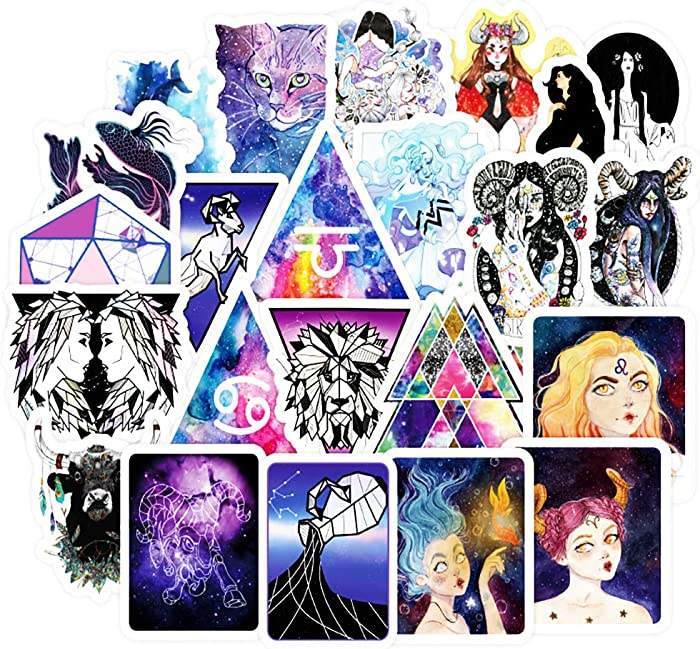 Honch Constellation Star Stickers Pack 100 Pcs Suitcase Stickers Vinyl Galaxy Divination Tarot Myth Magic Decals for Laptop Bumper Helmet Ipad Car Luggage Water Bottle