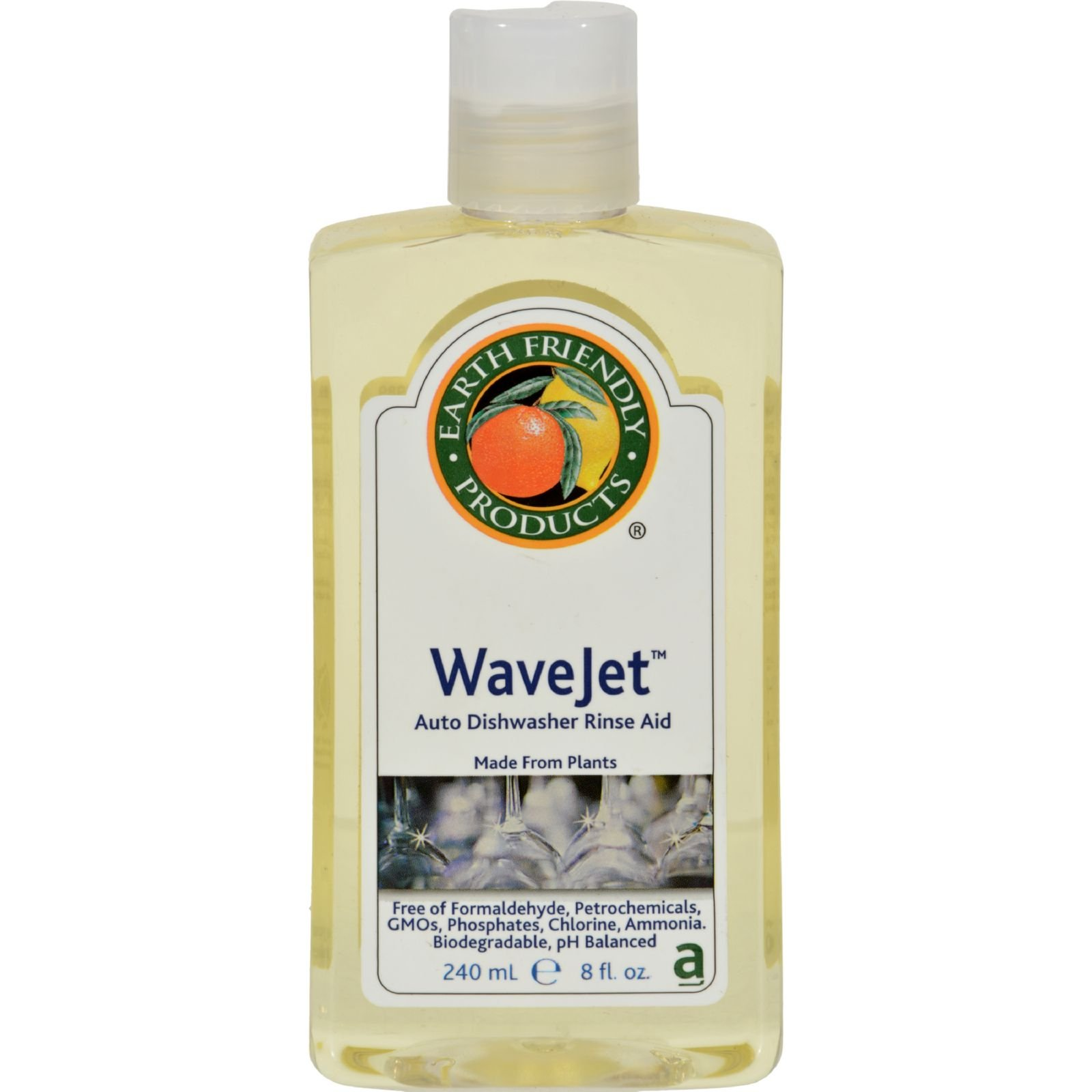 Earth Friendly Wave Jet Auto Dishwasher Rinse Aid - Made from Plant - 8 fl oz (Pack of 4)
