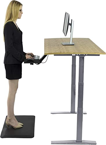 Rise UP Dual Motor Bamboo Electric Standing Desk Small Adjustable Height Ergonomic Powered sit to Stand up Home Office Frame Height 26-51.6″