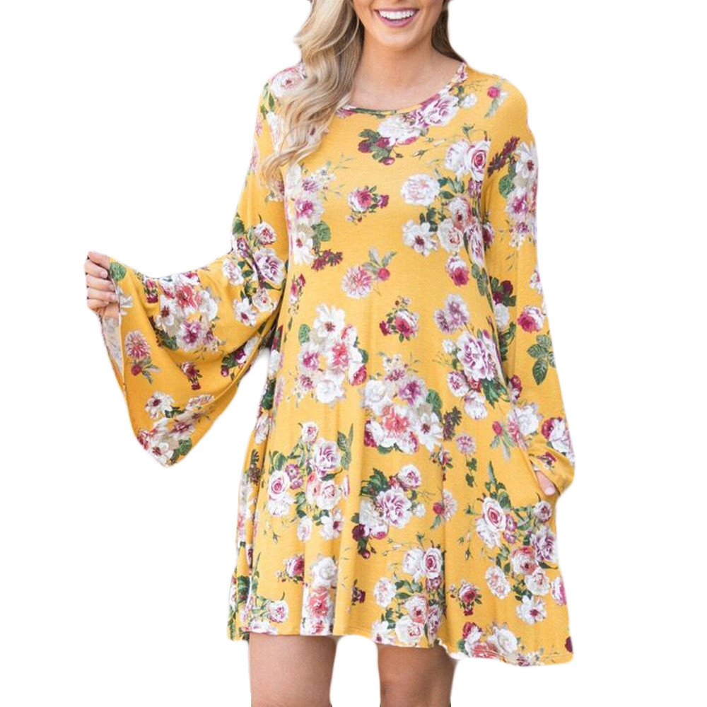 Overmal Womens Flower Printing O-Neck Flare Sleeve Mini Dress