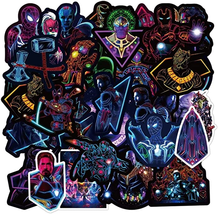 Avengers Superheros Noctilucent Stickers 100 Pcs , The Marvel Avengers Waterproof Vinyl Sticker for Water Bottles Laptop Luggage Cup Computer Mobile Phone decoraton