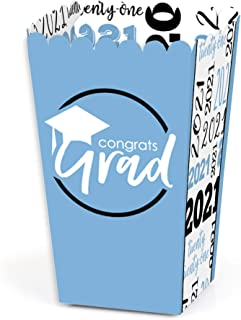 product image for Big Dot of Happiness Light Blue Grad - Best is Yet to Come - Light Blue 2021 Graduation Party Favor Popcorn Treat Boxes - Set of 12