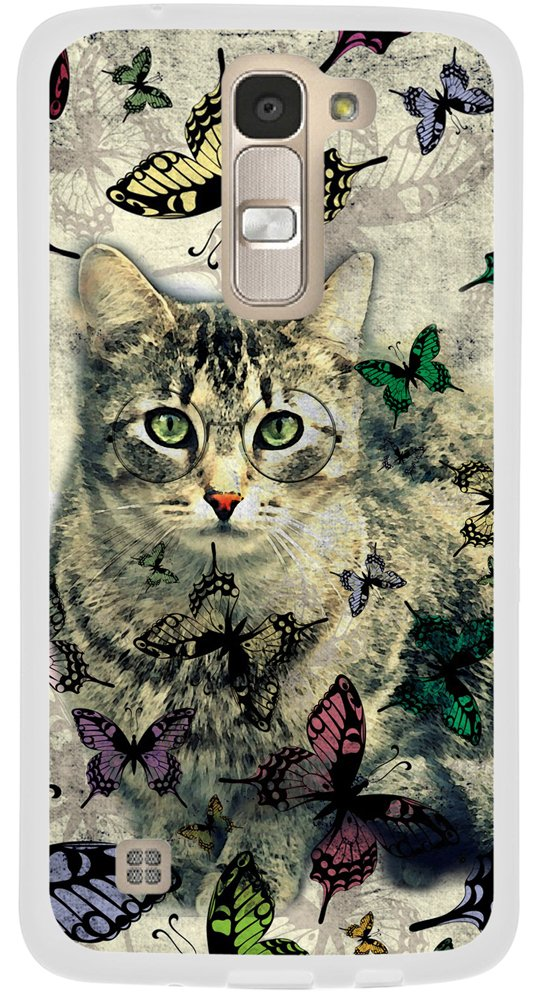 Case for LG K7 Cat/ K7 Cover Animal Design/IWONE Case Cover Protective Compatible for LG Tribute 5/ K7 + Cat Butterfly Animal