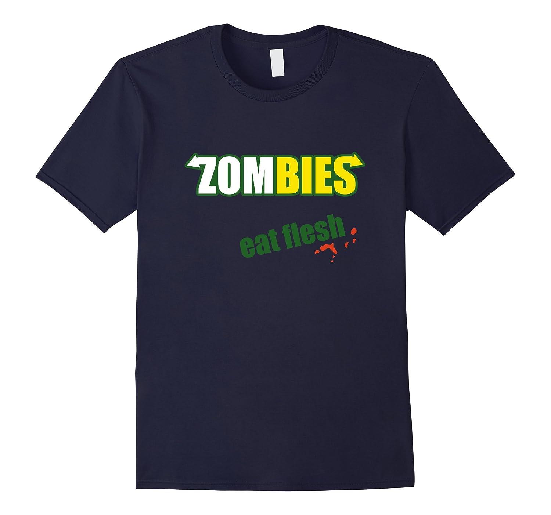 Zombies Eat Flesh Tshirt - Funny Subway Parody-BN