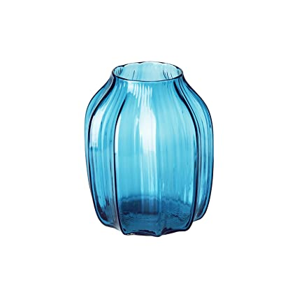 Amazon Casamotion Ribbed Hand Blown Solid Color Art Glass Vase