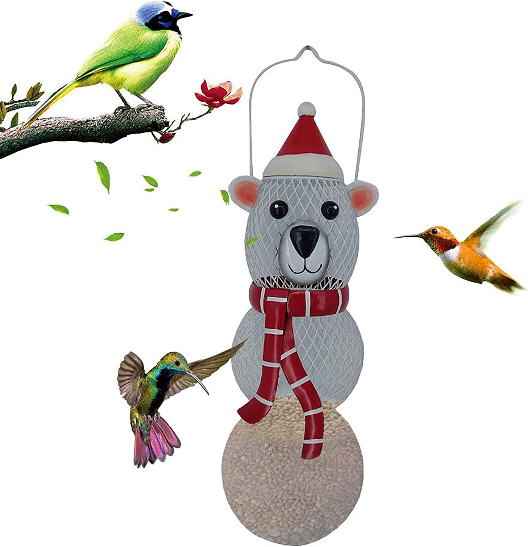 Yajun Hanging Bird Feeder Squirrel-Proof Food Container Metal Birds Seeds for Balcony Patio Porch Yard Christmas Deco
