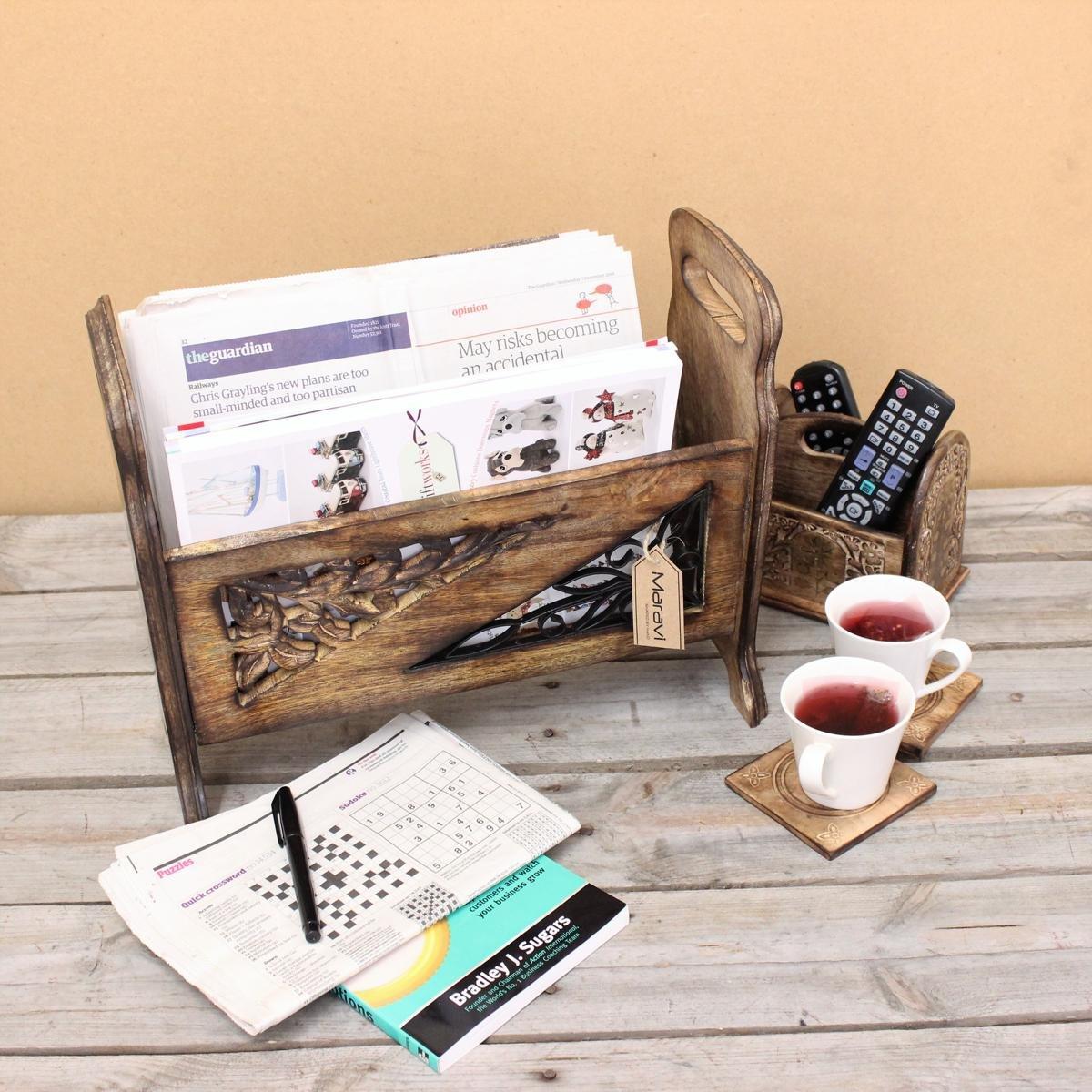 Suli Magazine Rack with Side Handles Metal Jali Work Mango Wood