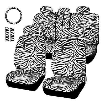 AUTOYOUTH Short Plush Luxury Zebra Cover Seats for Cars with Steering Wheel Cover and Seat Belt Pads: Automotive