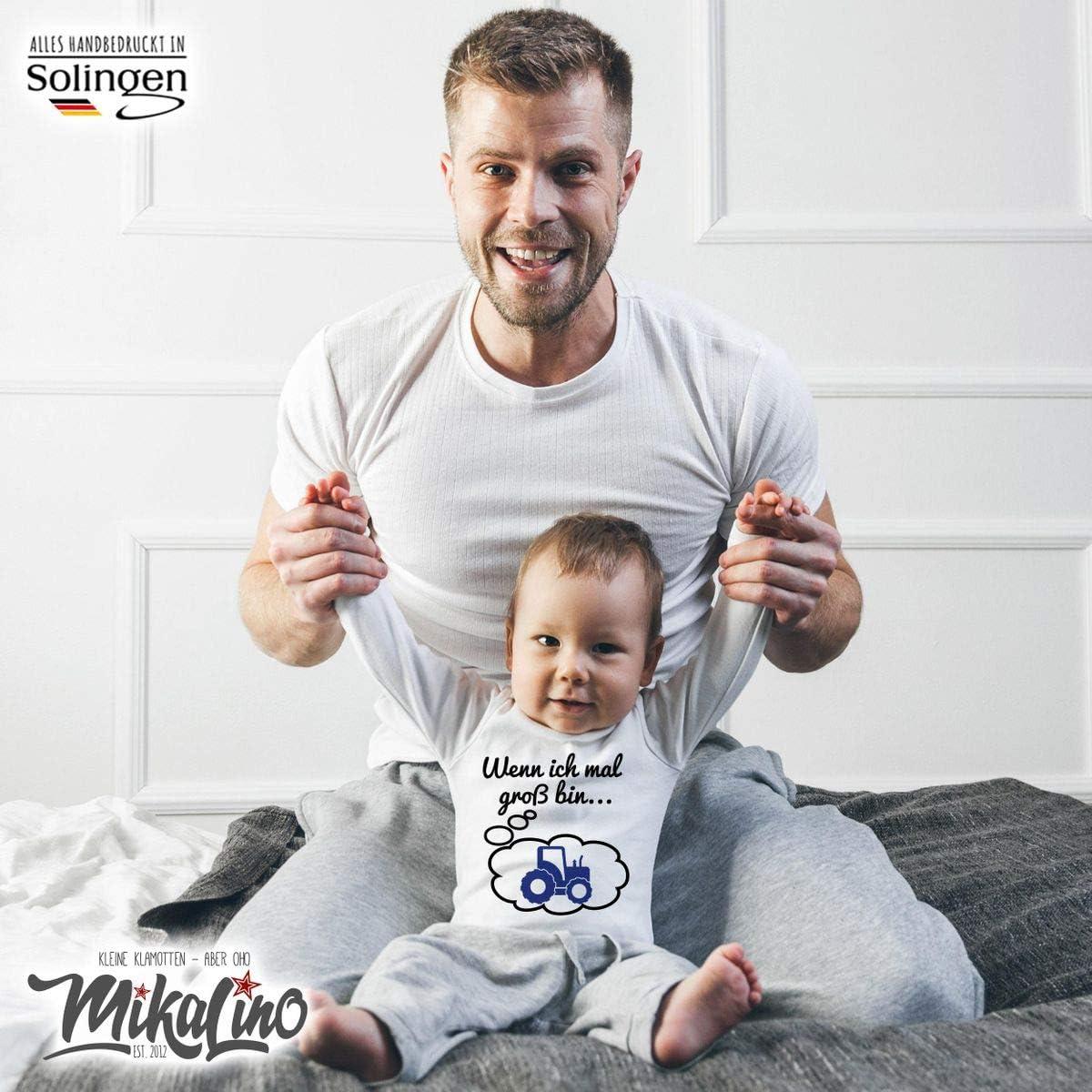 handbedruckt in Deutschland Mikalino Babybody mit Spruch f/ür Jungen M/ädchen Unisex Langarm Wenn ich mal gro/ß Bin Traktor Handmade with Love