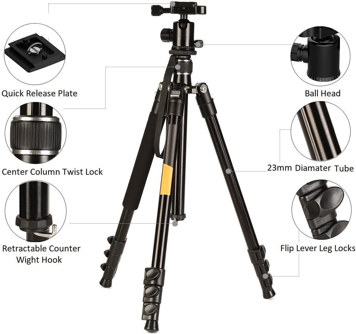 Blk//G 62 Travel Aluminum Alloy Tripod for Canon Nikon Sony Olympus Pentax DSLR Camera
