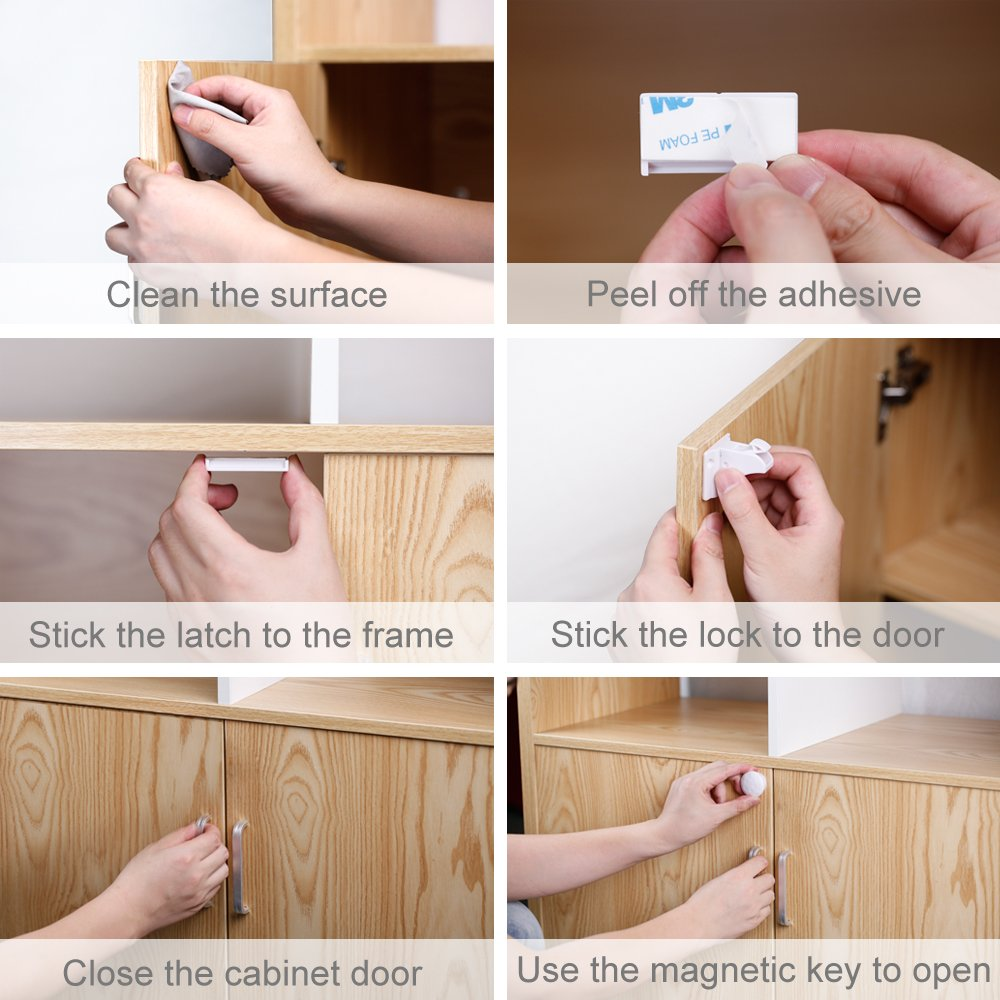 Magnetic Baby Safety Locks of Kikoocare for Cabinets & Drawers,8 Lock + 2 Key for Baby Proofing Cabinets by Kikoocare (Image #6)