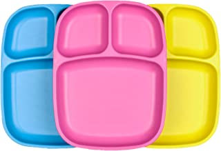 product image for Re-Play Set of 3 - Made in The USA Deep Divided Heavy Duty Dining Plates with 3 Compartments for All Ages - Sky Blue, Yellow, Bright Pink (Easter)