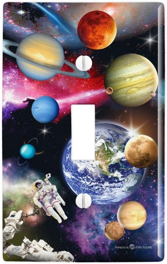 GRAPHICS & MORE Solar System Planets Space Earth Saturn Jupiter Mars Plastic Wall Decor Toggle Light Switch Plate Cover