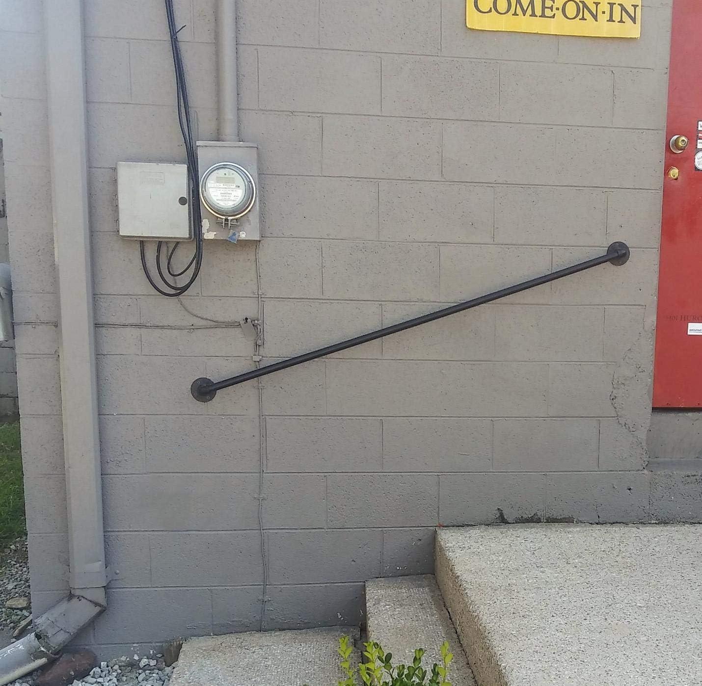 手すり 1〜20フィートの階段手すり壁掛け安全な固体鋳鉄パイプ移行手すり手すり安全壁手すり、廊下、ランプ、または階段サポート550lbs