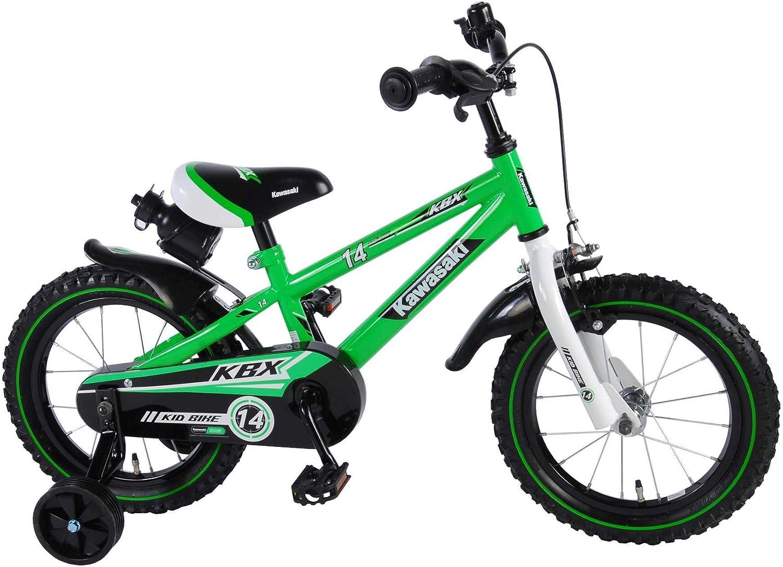 Kawasaki Bicicleta Infantil Niño Chico 14 Pulgadas Freno Delantero al Manillar y Trasero Contropedal Ruedas Extraibles 95% Montada Verde
