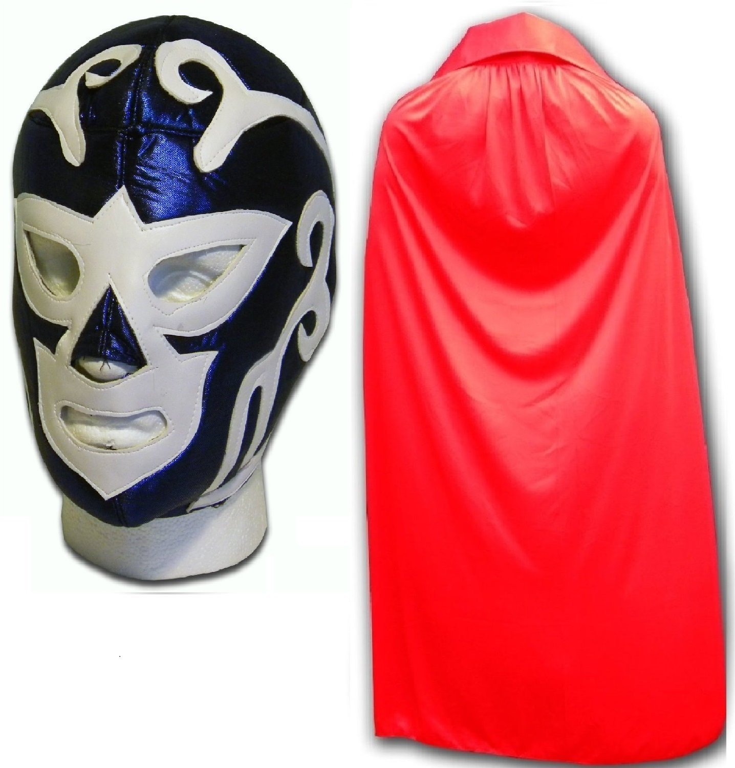 WRESTLING MASKS UK Men's Huracan Luchador Mexican Wrestling Mask With Cape One Size Blue/ Red