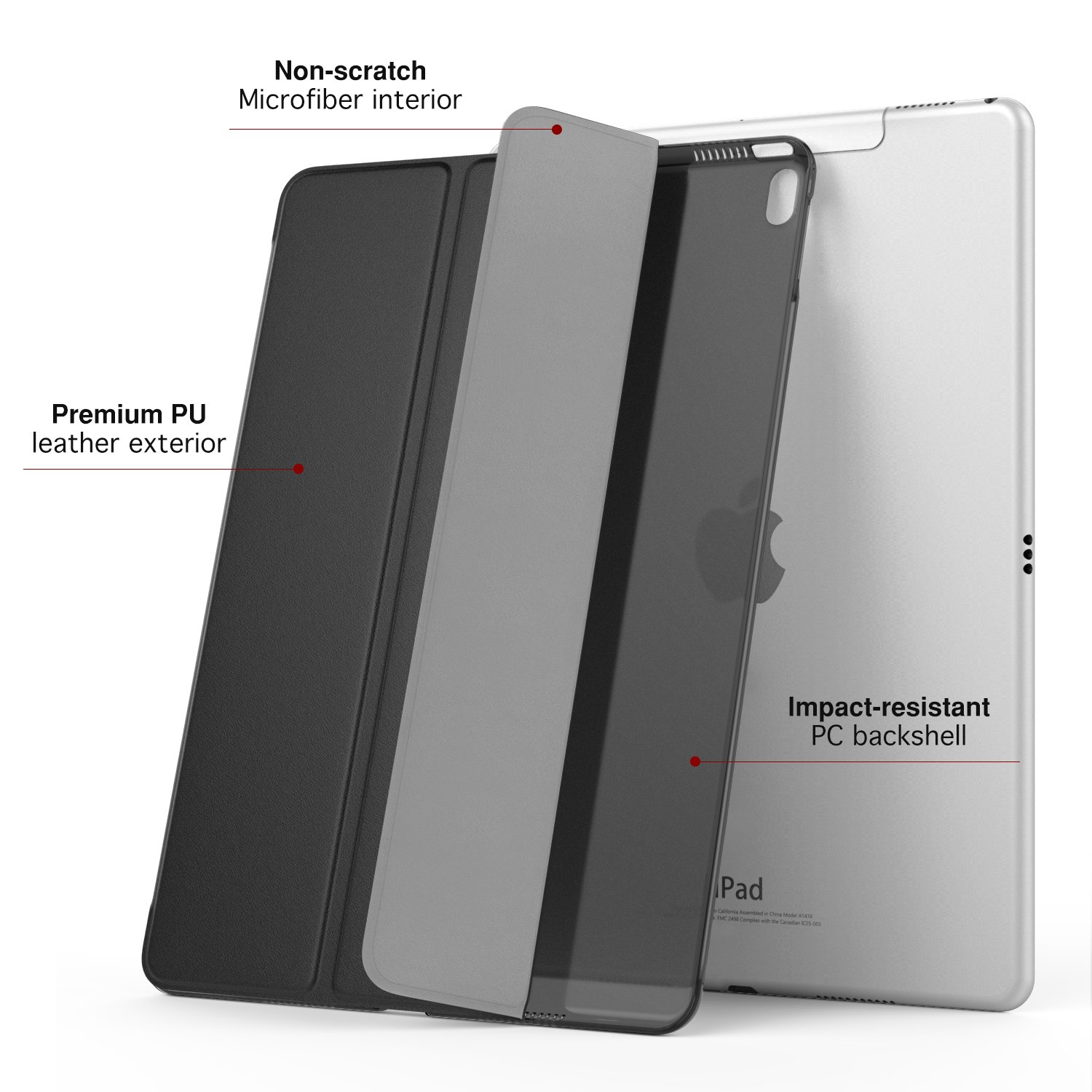 MoKo Case for iPad Pro 10.5 - Slim Lightweight Smart-shell Stand Cover with Translucent Frosted Back Protector for Apple iPad Pro 10.5 Inch 2017 Released Tablet, BLACK (Auto Wake / Sleep)