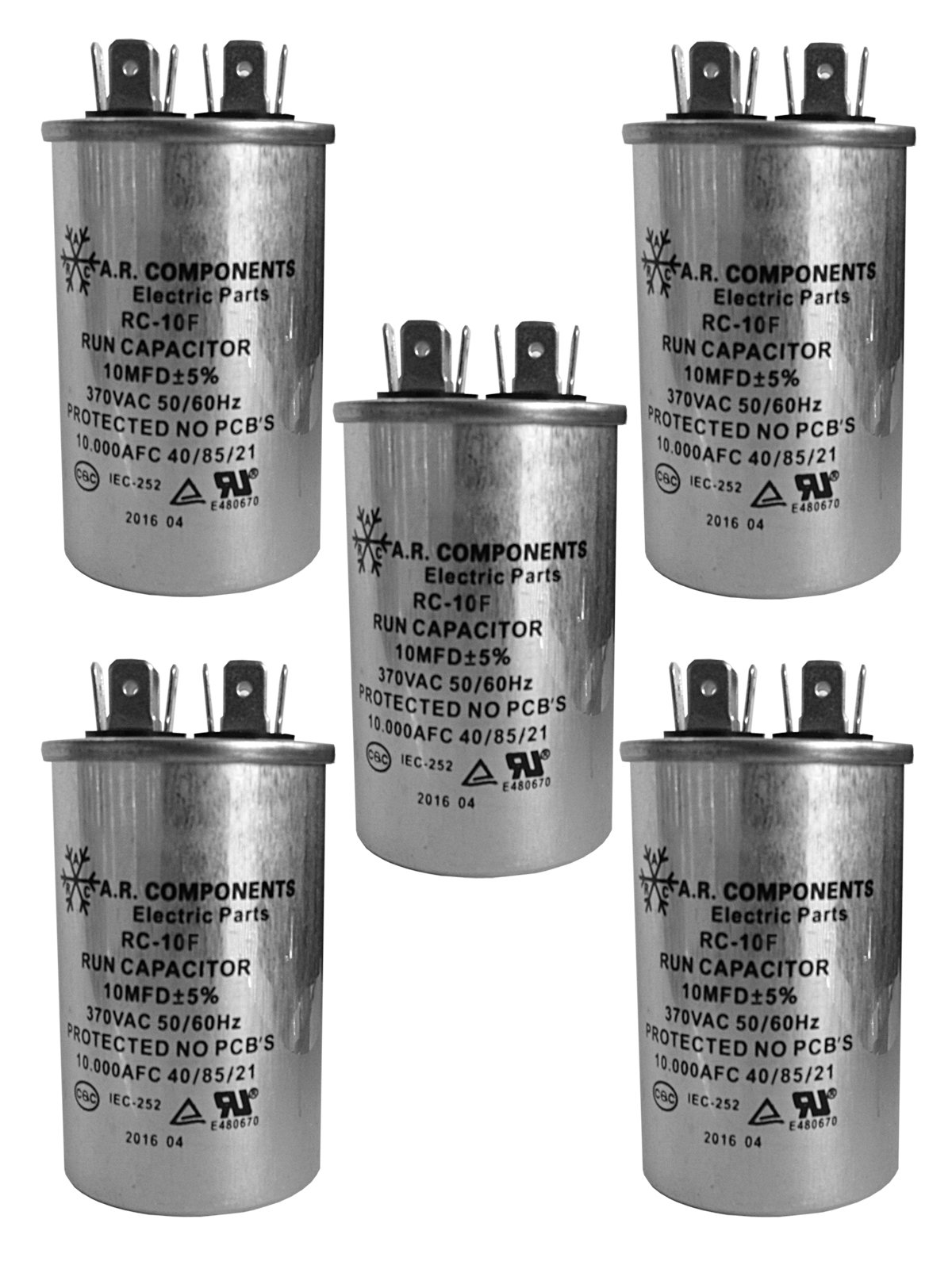 RUN CAPACITOR 10 MFD 370 VAC ROUND CAN. UL Certified. Pack of (5)