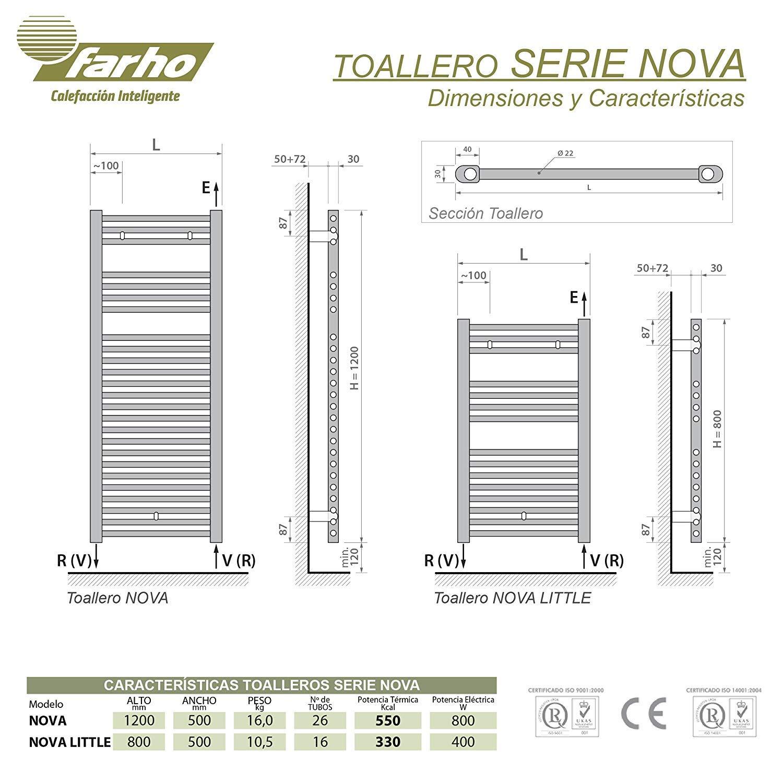 /·/· 5 A/ÑOS de Garantia Medidas 800 x 500mm farho Radiador TOALLERO Electrico Bajo Consumo Nova Little Cromado /·/· 400 Watios /· Toalleros El/éctricos con Termostato Digital Programable