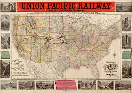 Amazoncom Railroad Map Of US Union Pacific RR New Of - Map of us railways