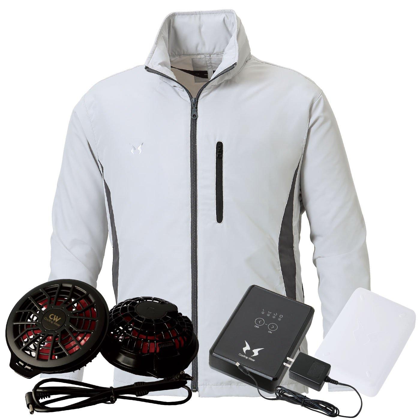 SUN-S(サンエス) 空調服 ファン付き フード付 スタッフブルゾン ss-ku90520s-lh 【空調服+ファンRD9820H+バッテリRD9870J】 B07D9HGPND 4L|シルバー シルバー 4L