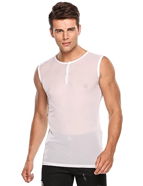 e2534de1fd613a Image Unavailable. Image not available for. Color  Mens Sexy Tank Top See  Through ...
