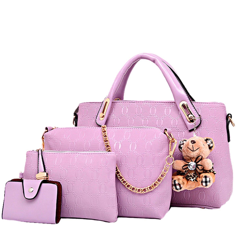 Lunas Women's 4Pcs Leather Leatherette Shoulder Handbag Commuter Tote Bag