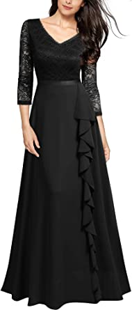 MIUSOL Women's Lace Chiffon V Neck Frill Long Evening Dress