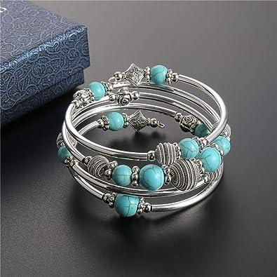 Beaded Chakra Bangle Turquoise Bracelet