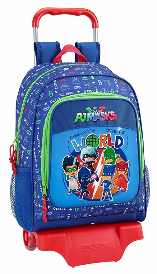 "Safta Mochila P J Masks ""World"" Oficial Escolar Con Carro Safta 330x150x430mm"