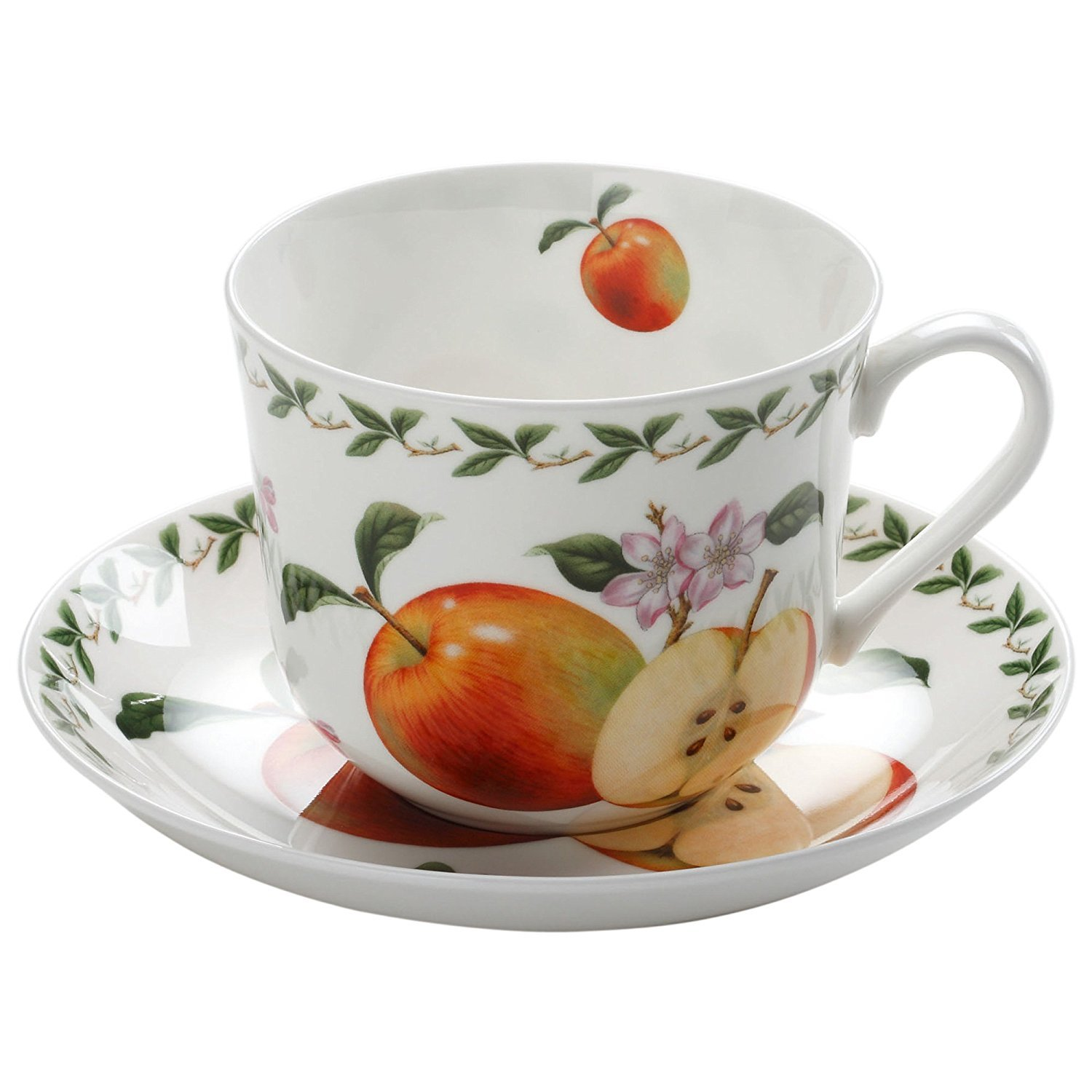Maxwell & Williams Orchard Fruit Apple Breakfast Cup & Saucer GB, 450ml, Porcelain, PB8105