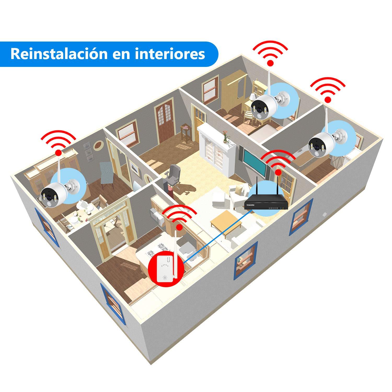 YESKAMO Repetidor IPC Extender para el Sistema Inal/ámbrico de C/ámaras de Seguridad para el Hogar