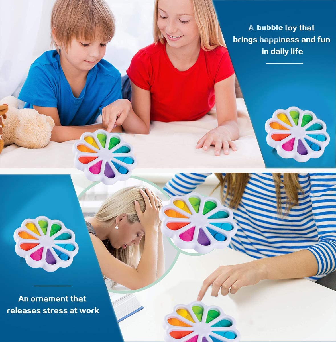 Stress Relief Pad Controller Hand Toys for Kids Adults Anxiety Autism Toy Special Office Toys Silicone Flipping Board Toys BWBMSOW Sensory Simple Dimple Fidget Toy Early Educational Toy
