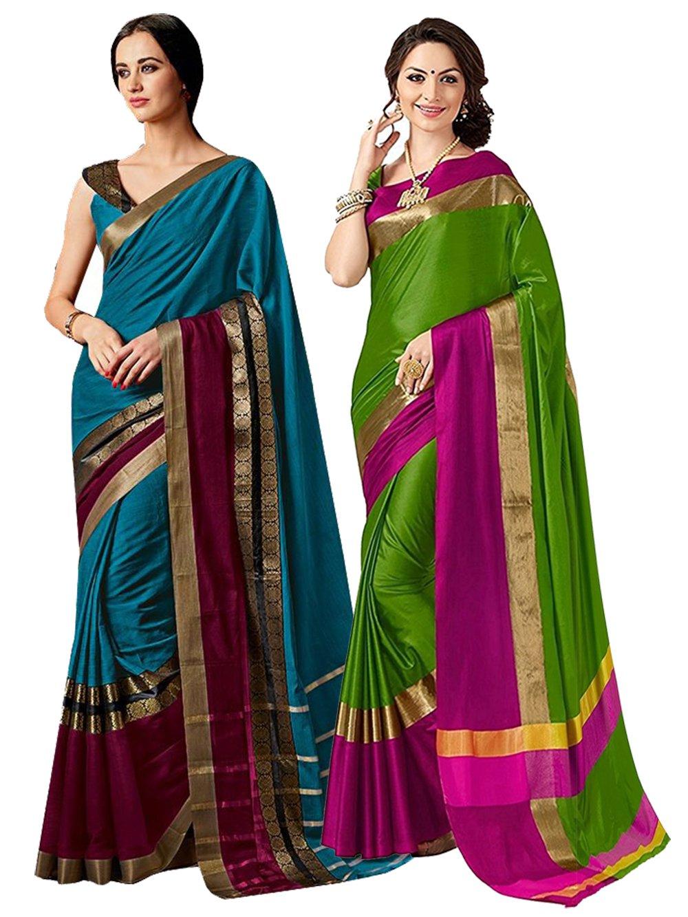 ELINA FASHION Pack Two Sarees Indian Women Cotton Art Silk Printed Weaving Border Saree    Sari Combo (Multi 14)
