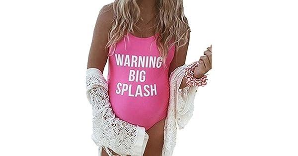 3e00e83911 Warning Big Splash Women Maternity Sexy Letter Prints One Piece Backless Swimsuit  Swimwear Size L (Rose)