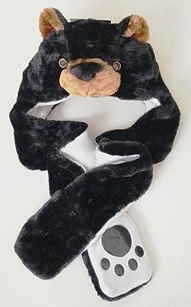 918387f1f New Adults Unisex Girls/Boys Faux Fur Animal Trapper Hat Scarf Gloves set  One Size (Black Bear) By Stylewar