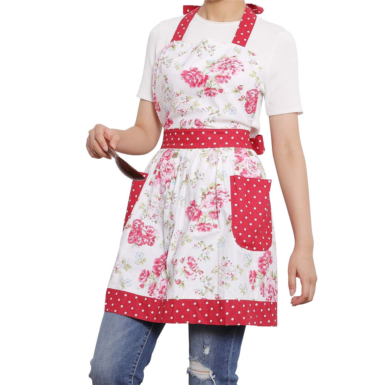 Neoviva Cotton Canvas Mama Apron with Pockets for Kitchen, Style Diana, Floral Ballad Blue XinDaSheng(HangZhou) Arts Co. LTD