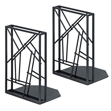 SRIWATANA Bookends Black, Decorative Book Ends for Shelves Non-Skid & Anti-Scratching, Artistic Design