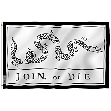 Anley [Fly Breeze 3x5 Foot Join Or Die Flag - Vivid Color and UV Fade Resistant - Canvas Header and Double Stitched - Rattlesnake Flags Polyester with Brass Grommets 3 X 5 Ft