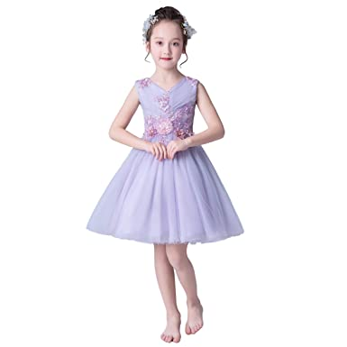 cc77a92639885 Weileenice® 女の子 ドレス フォーマル 子供 ワンピース チュール 刺繍 パール付き 袖なし 膝丈 コスチューム