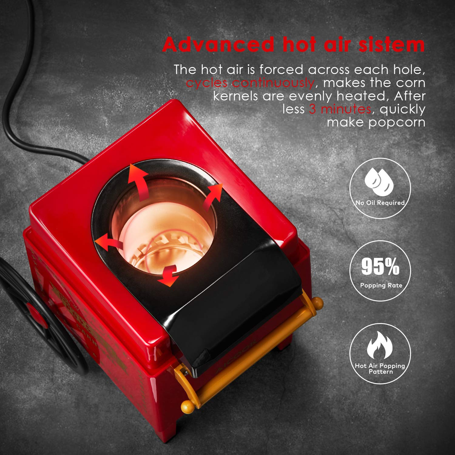 Aicook Hot Air Popcorn Popper Maker with Measuring Cup, No Oil Needed, FDA and ETL Approved, Red