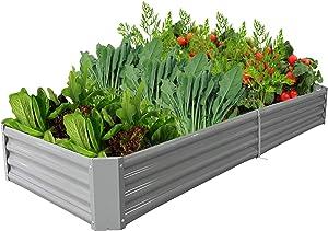 sunzoom 8x3x1ft Raised Garden Bed Metal Galvanized Kit Outdoor Steel Vegetable Planter for Growing Veggies, Flowers,and Succulents, Dark Gray