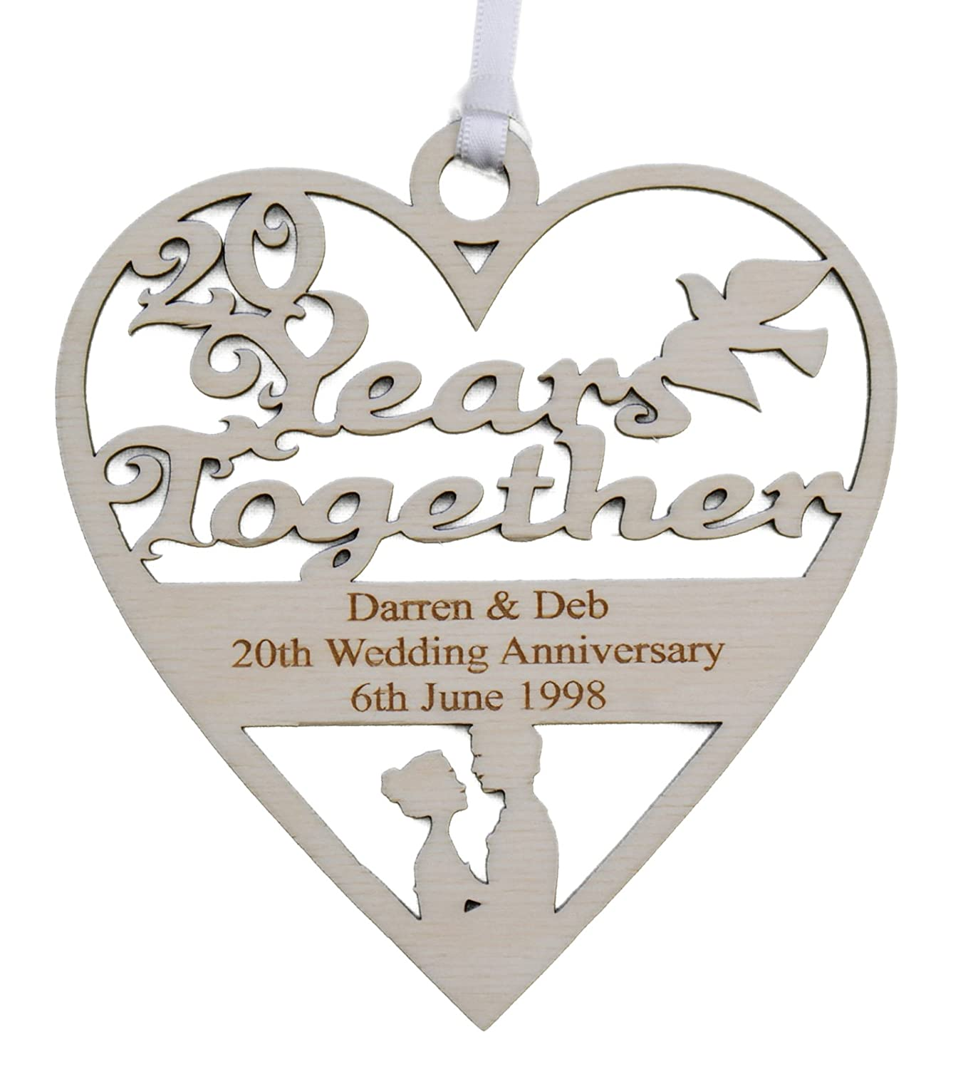 Personalised Wood Engraved 20 Years China Wedding Anniversary