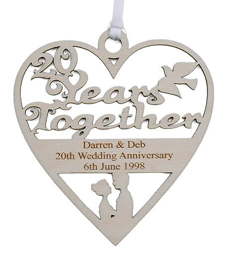 Personalised Wood Engraved 20 Years China Wedding Anniversary