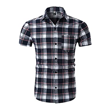a7cd31620ada5 Homyl Chemise Homme à Carreaux Manche Courtes Top Casual Slim Fit Taille -  rouge/blanc