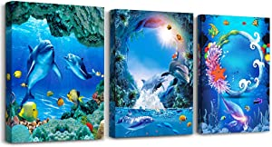 3 Piece framed Canvas Wall Art for living room bathroom Wall Decor Canvas Prints bedroom Decorations Office kitchen wall Artwork painting Blue ocean landscape undersea fish Picture Poster Home Decor