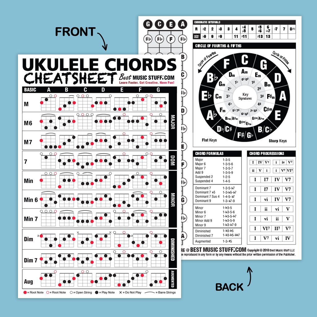 Amazon.com: Ukulele Chords Cheatsheet Laminated and Double Sided ...
