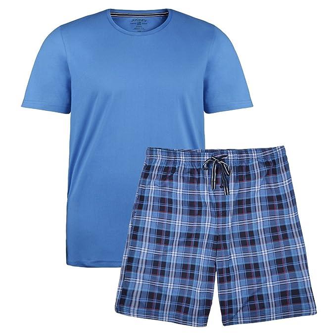 Jockey Pijama Corto Azul Medio Cuadros Oversize, 2xl-8xl:2XL