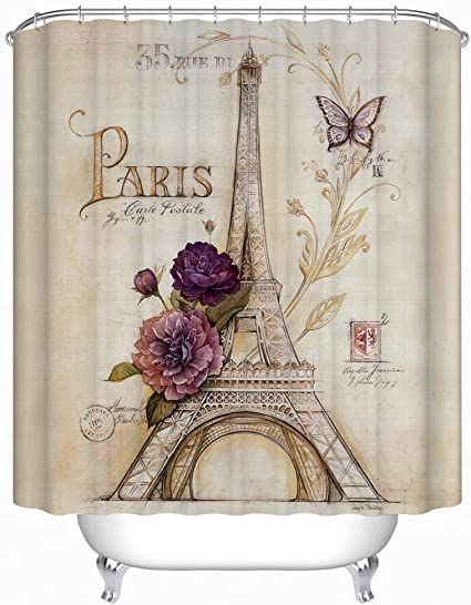 Bunte Blüten Eiffelturm Duschvorhang