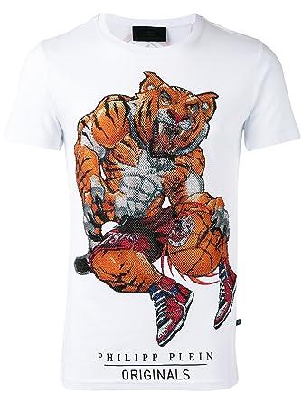 Philipp Plein Ogre MTK0322 01 White Herren T-Shirt wei   Amazon.de   Bekleidung 49bc0441c4
